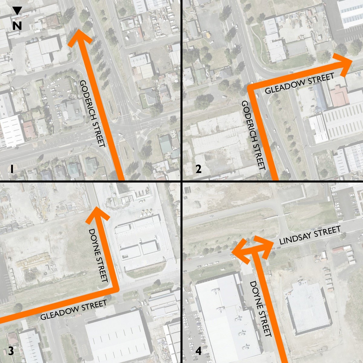 Detour map to get to Lindsay Street from the north